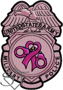 US Army Military Police Badge Patch-Breast Cancer Awareness